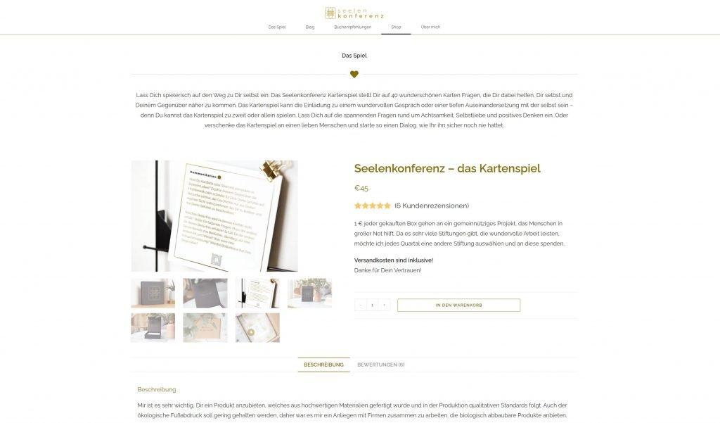 Referenz für Webseite erstellen lassen, Seelenkonferenz der Online Shop