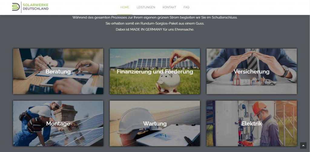 Webdesign Solarwerke Deutschland Leistungen