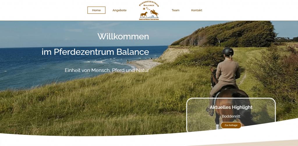 Webdesign Pferdezentrum Balance Home