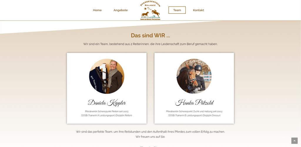 Webdesign Pferdezentrum Balance Team