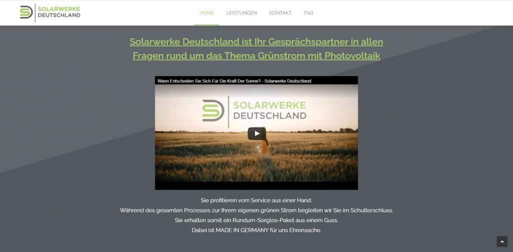 Webdesign Solarwerke Deutschland Videoeinbindung